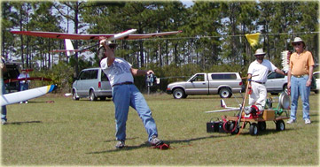 Al Parsons launches his sailplane with a winch line